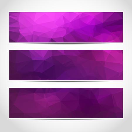 Set di moda viola banner vettore template o siti web intestazioni con sfondo astratto geometrico. Vector design illustrazione EPS10
