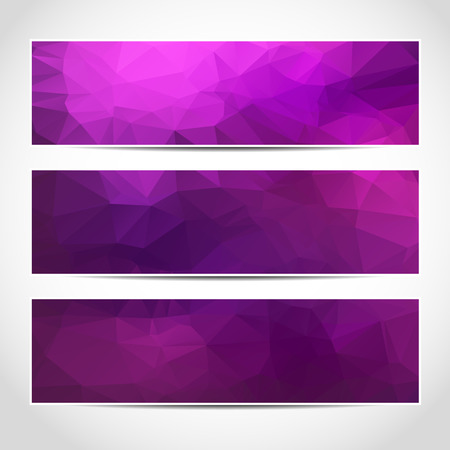 Set of trendy purple vector banners template or website headers with abstract geometric background. Vector design illustration EPS10
