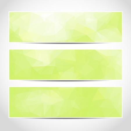 Set di moda verde banner eco vettore template o siti web intestazioni con sfondo astratto geometrico. Vector design illustrazione EPS10
