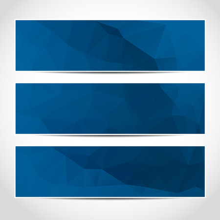 header: Set of trendy blue vector banners template or website headers with abstract geometric background. Vector design illustration EPS10
