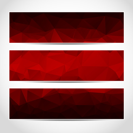 website background: Set of trendy red vector banners template or website headers with abstract geometric background. Vector design illustration EPS10 Illustration