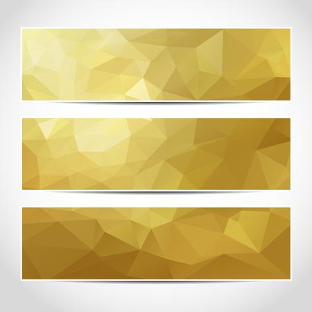 Set di oro vettore modello banner o sito web intestazioni alla moda con sfondo astratto geometrico. Vector design illustrazione EPS10