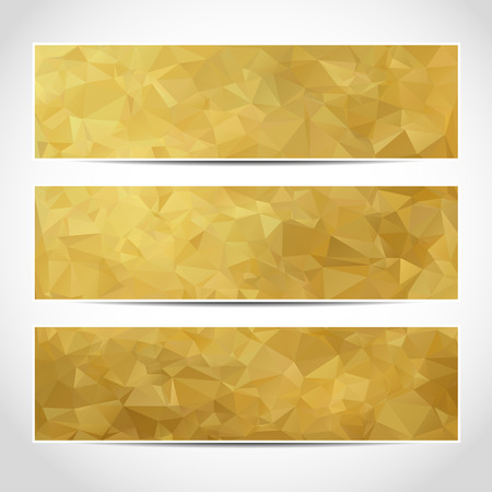 Set of trendy gold vector banners template or website headers with abstract geometric background. Vector design illustration EPS10 Illustration