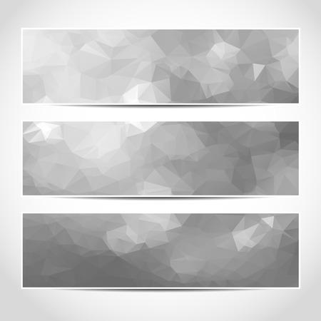 Set di argento template bandiere di vettore o del sito web intestazioni alla moda con sfondo astratto geometrico. Vector design illustrazione EPS10