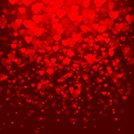 Abstract red background with hearts.