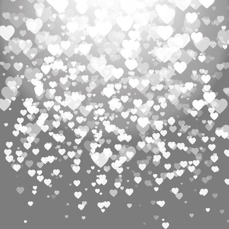 Abstracte zilveren achtergrond met hartjes. Stock Illustratie