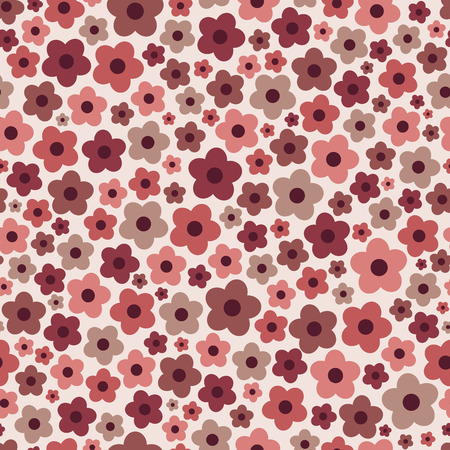 Seamless floral pattern with daisy flowers with trendy Marsala colors. Vector