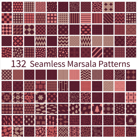 Big set of seamless geometric, polka dot, floral, decorative patterns with Marsala trendy colors.