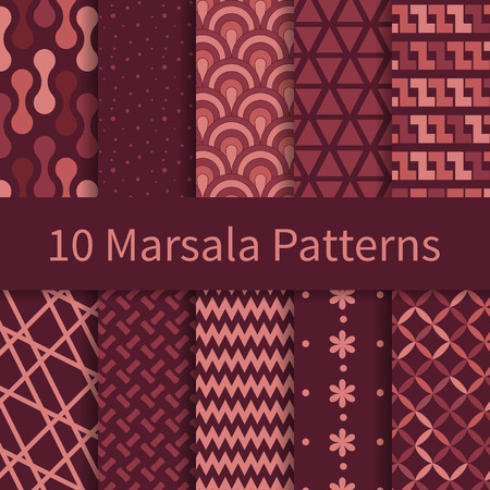 10 Geometric Fashion different vector seamless patterns with trendy Marsala colors, tiling. Endless texture can be used for wallpaper, pattern fills, web page background, textures.