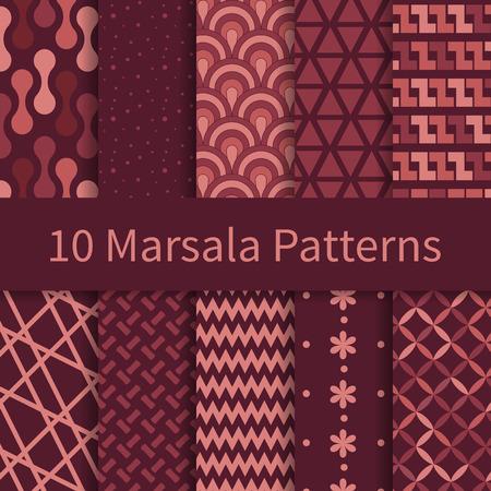 10 Geometrische Mode verschillende vector naadloze patronen met trendy Marsala kleuren, tegels. Eindeloze textuur kan worden gebruikt voor behang, patroonvullingen, webpagina achtergrond, texturen. Stock Illustratie