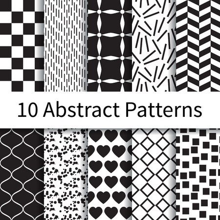 10 Abstracte geometrische verschillende vector naadloze patronen, tegels. Eindeloze textuur kan worden gebruikt voor behang, patroonvullingen, webpagina achtergrond, texturen. Set van monochrome geometrische ornamenten. Stock Illustratie