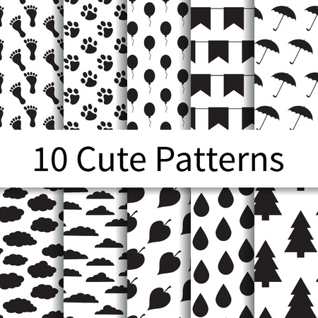10 Cute different vector seamless patterns, tiling. Endless texture can be used for wallpaper, pattern fills, web page background, textures. Set of monochrome geometric ornaments.