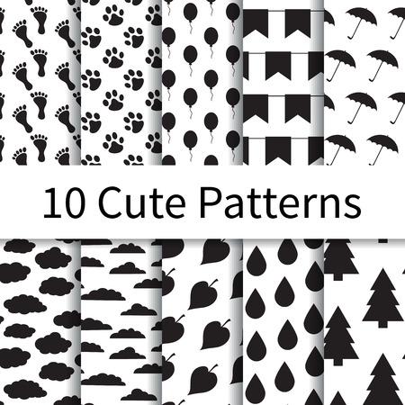 10 Cute verschillende vector naadloze patronen, tegels. Endless textuur kan worden gebruikt voor behang, patroonvullingen, webpagina achtergrond, texturen. Set van monochrome geometrische ornamenten. Stock Illustratie