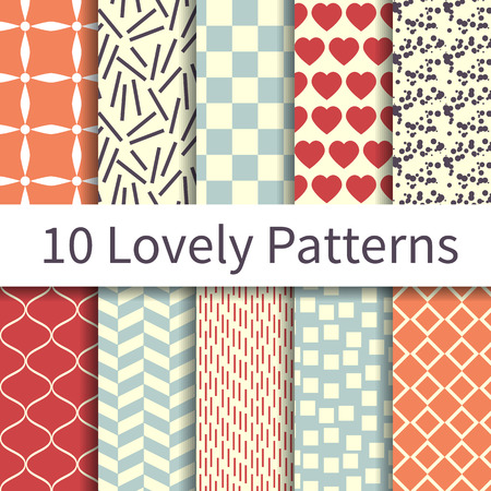 10 Geometric Fashion different vector seamless patterns, tiling. Endless texture can be used for wallpaper, pattern fills, web page background, textures. Set of monochrome geometric ornaments. Stock Illustratie