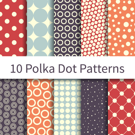 10 Polka Dot Geometric different vector seamless patterns, tiling. Endless texture can be used for fabric, wallpaper, pattern fills, web page background, textures. Set of geometric ornaments.