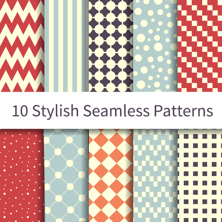 10 Geometric Fashion different vector seamless patterns, tiling. Endless texture can be used for wallpaper, pattern fills, web page background, textures. Set of monochrome geometric ornaments. Vectores