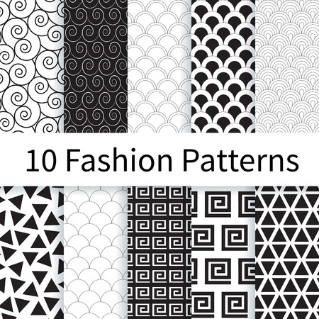 10 Geometric Fashion different vector seamless patterns. Endless texture can be used for wallpaper, pattern fills etc. Vettoriali