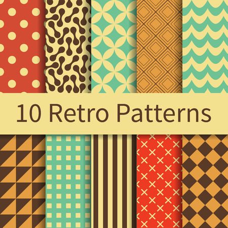 filling material: 10 Retro geometric different vector seamless patterns, tiling. Endless texture can be used for wallpaper, pattern fills, web page background, textures. Set of monochrome geometric ornaments.