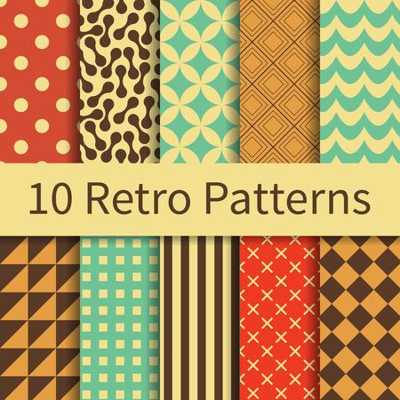 10 Retro geometrische verschillende vector naadloze patronen, tegelwerk. Eindeloze textuur kan worden gebruikt voor behang, patroon vult, webpagina achtergrond, texturen. Set van monochrome geometrische ornamenten.