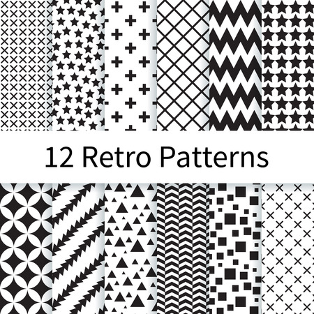 12 Geometric Retro different vector seamless patterns, tiling. Endless texture can be used for wallpaper, pattern fills, web page background, textures. Set of monochrome geometric ornaments.