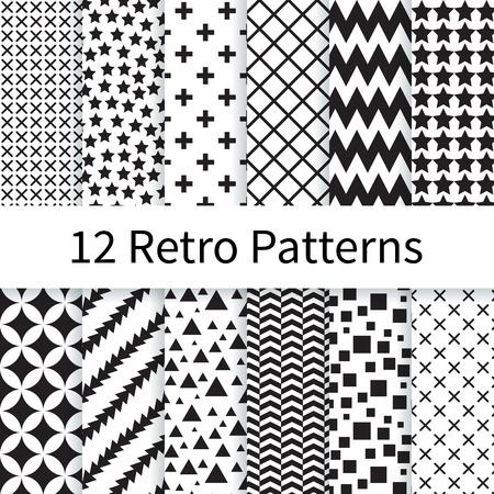 12 Geometrische Retro verschillende vector naadloze patronen, tegels. Eindeloze textuur kan worden gebruikt voor behang, patroonvullingen, webpagina achtergrond, texturen. Set van monochrome geometrische ornamenten.
