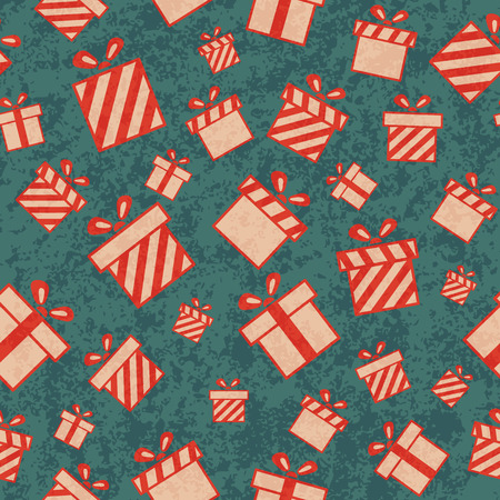 Seamless retro pattern with gift boxes. Vector illustration EPS10