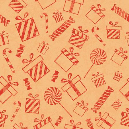 Senza soluzione di modello retr� con scatole regalo e caramelle. Illustrazione di vettore EPS10 Vettoriali