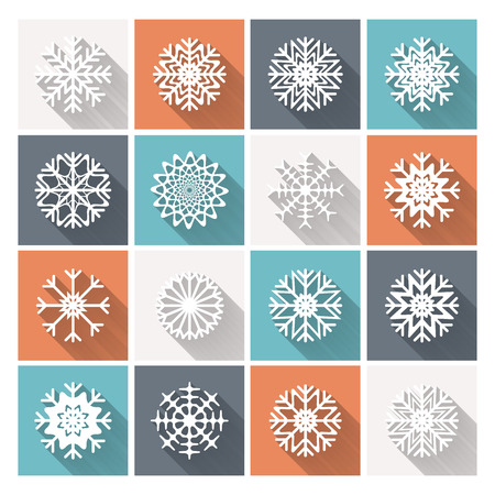 Set of vector retro flat snowflakes with long shadow. Trendy design EPS10 Illustration