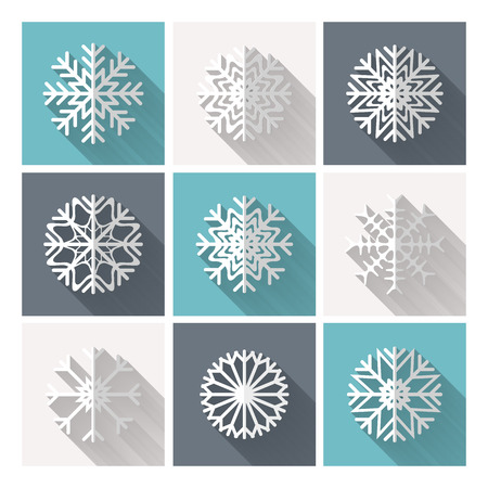 Set di vettore fiocchi di neve retr� piatto di carta bianca con una lunga ombra. Trendy EPS10 disegno Vettoriali