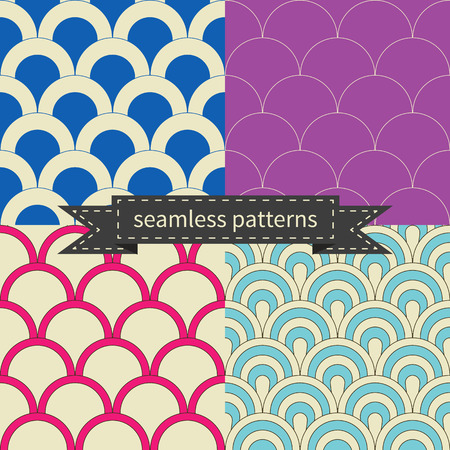 Retro different vector seamless patterns, tiling. Endless texture can be used for wallpaper, pattern fills, web page background,surface textures. Set of geometric ornaments. Illustration