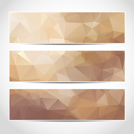 Set van trendy beige banners sjabloon of website headers met abstracte geometrische achtergrond.