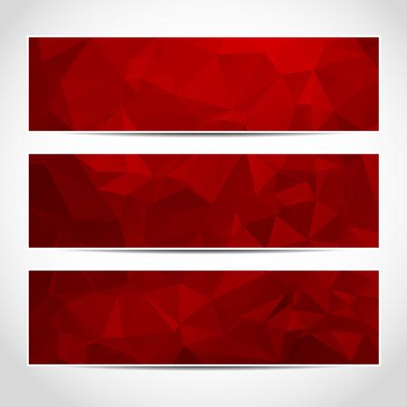 Set of trendy red banners template or website headers with abstract geometric background.