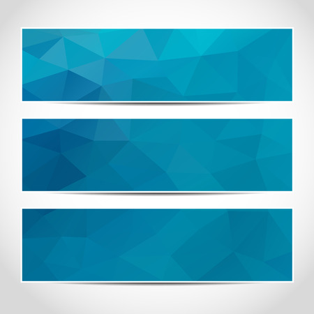 Set of trendy blue banners template or website headers with abstract geometric background.
