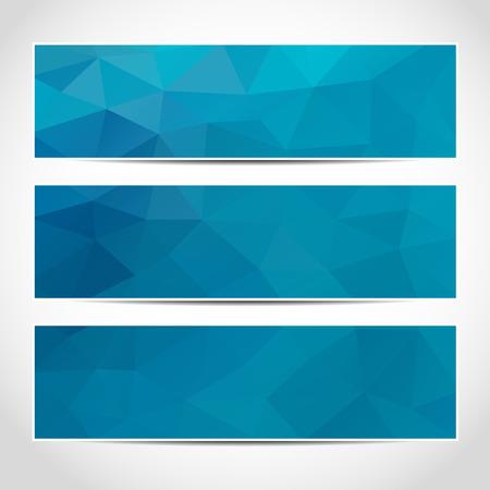 azul: Conjunto de plantilla banderas azules o sitio web cabeceras de moda con el fondo abstracto geométrico.