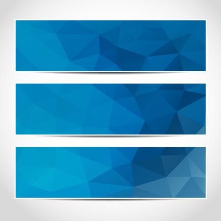 Set di moda blu modello banner o sito web intestazioni con sfondo astratto geometrico.