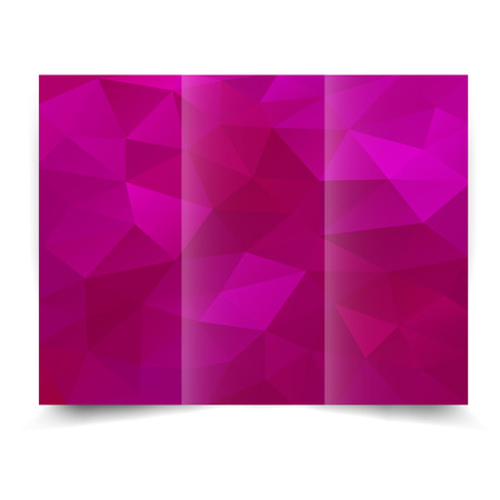 pinky: pink tri-fold brochure design template with abstract geometric background. Tri-Fold Mock up and back Brochure Design with triangles. Illustration