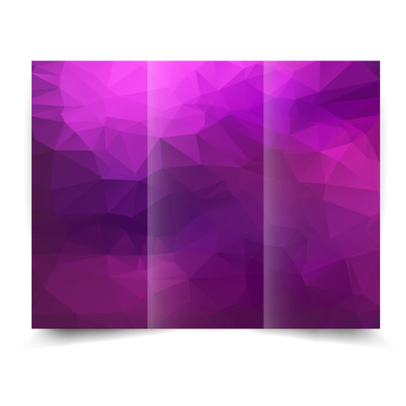 blank template: purple tri-fold brochure design template with abstract geometric background. Tri-Fold Mock up and back Brochure Design with triangles.  Illustration