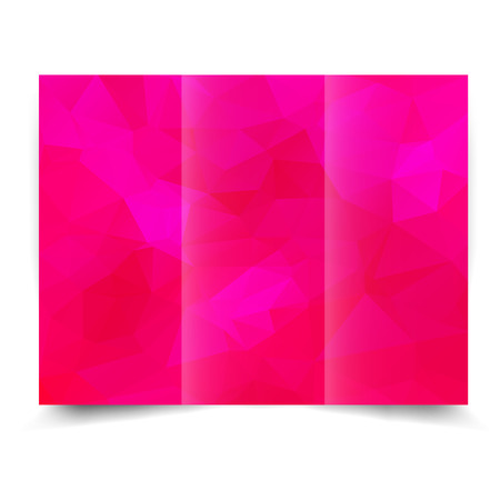 pinky: pink tri-fold brochure design template with abstract geometric background. Tri-Fold Mock up and back Brochure Design with triangles.