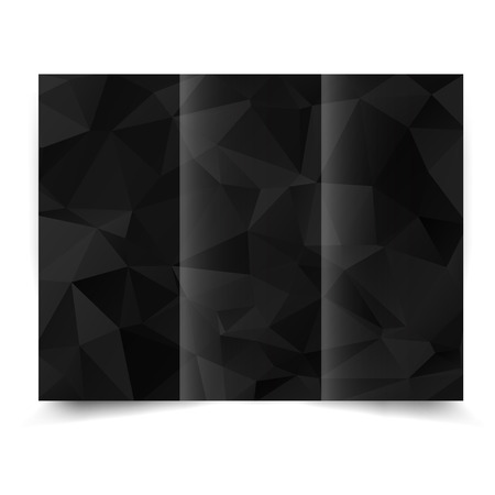 black tri-fold brochure design template with abstract geometric background. Tri-Fold Mock up and back Brochure Design with triangles.