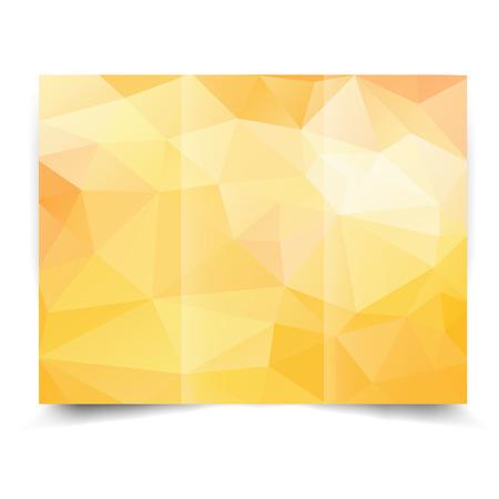 giallo tri-fold modello di progettazione brochure con sfondo astratto geometrico. Tri-Fold Mock up e indietro Brochure Design con triangoli.