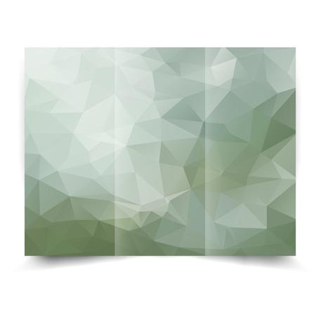eco tri-fold brochure design template verde con sfondo astratto geometrico. Tri-Fold Mock up e indietro Brochure Design con triangoli.