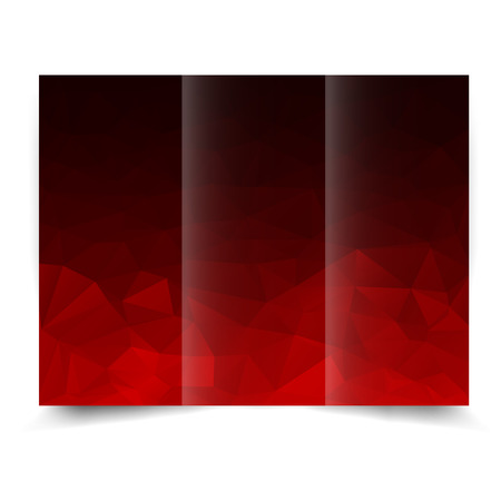 red tri-fold brochure design template with abstract geometric background. Tri-Fold Mock up and back Brochure Design with triangles. Illustration