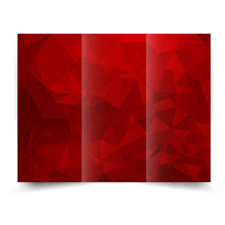 red tri-fold brochure design template with abstract geometric background. Tri-Fold Mock up and back Brochure Design with triangles. Vector
