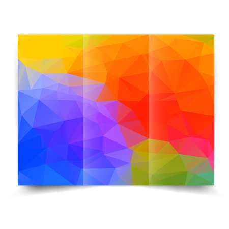 colorful bright tri-fold brochure design template with abstract geometric background. Tri-Fold Mock up and back Brochure Design with triangles.