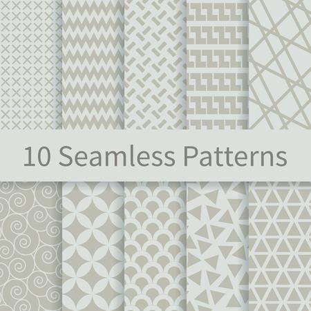 10 moda geometrica diversi vettoriale modelli senza soluzione. Campioni di modelli senza soluzione inclusi nel file. Set di ornamenti in bianco e nero geometrici. Classic. Colori tenui.
