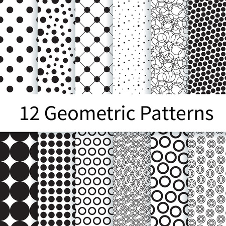 12 Geometric Polka Dot different vector seamless patterns, tiling. Endless texture can be used for wallpaper, pattern fills, web page background, textures. Set of monochrome geometric ornaments. Illustration