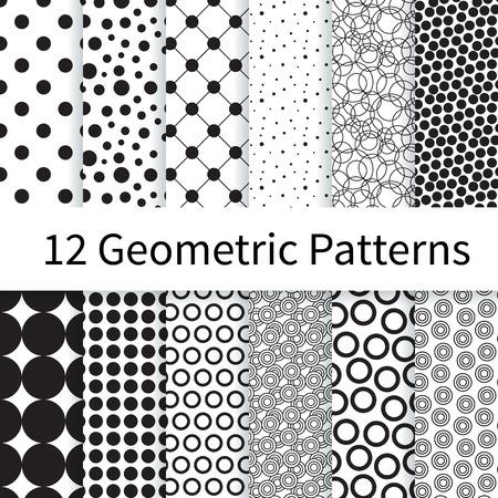 12 Geometrische Stip verschillende vector naadloze patronen, tegels. Eindeloze textuur kan worden gebruikt voor behang, patroonvullingen, webpagina achtergrond, texturen. Set van monochrome geometrische ornamenten. Stock Illustratie