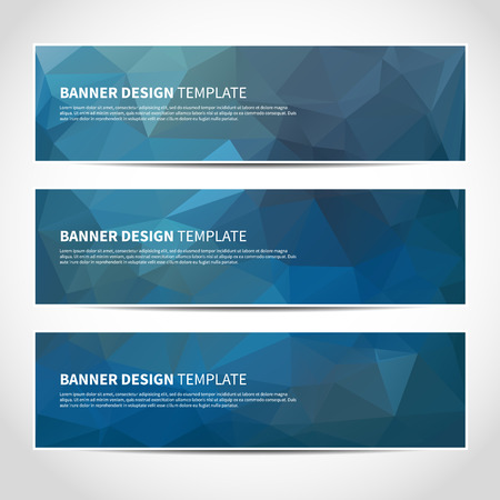 Set of trendy blue vector banners template or website headers with abstract geometric background. Vector design illustration EPS10
