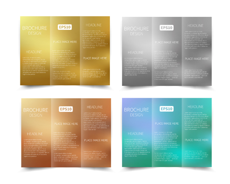 Set of vector tri fold brochure design template with abstract geometric background EPS10 Tri Fold Mock up back Brochure Design