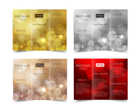 flyer background: Set of Christmas vector tri-fold brochure design template with abstract geometric background EPS10 Tri-Fold Mock up back Brochure Design